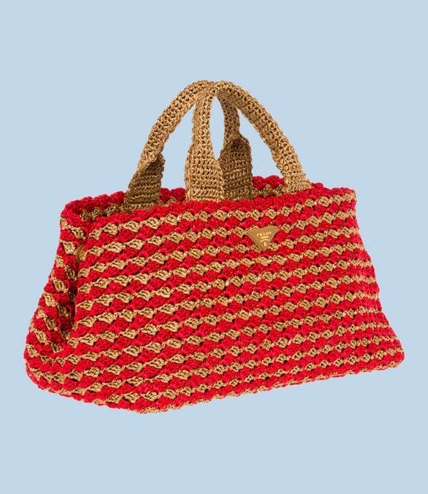 Borse Prada In Rafia Bolsos Crochet Y Tela Crochet Purses Prada