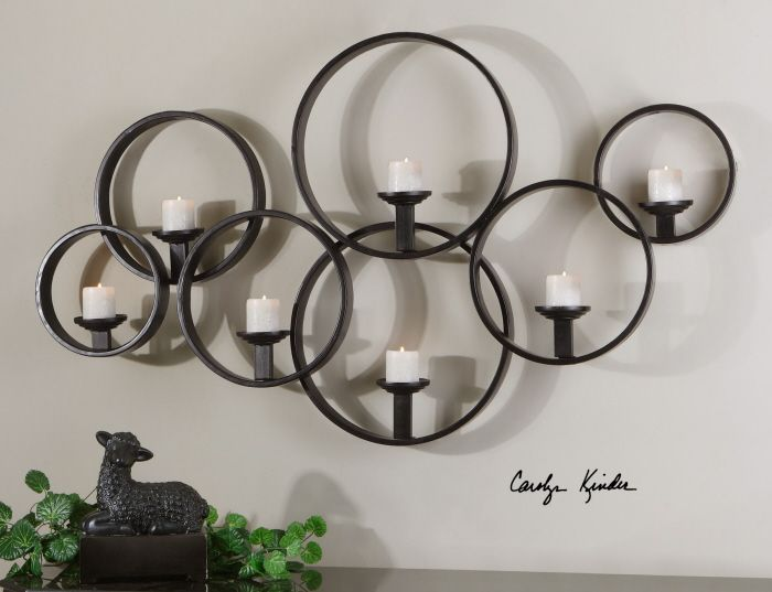 MODERN Black Iron Linking Circle WALL CANDLEHOLDER Candle Sconce ...