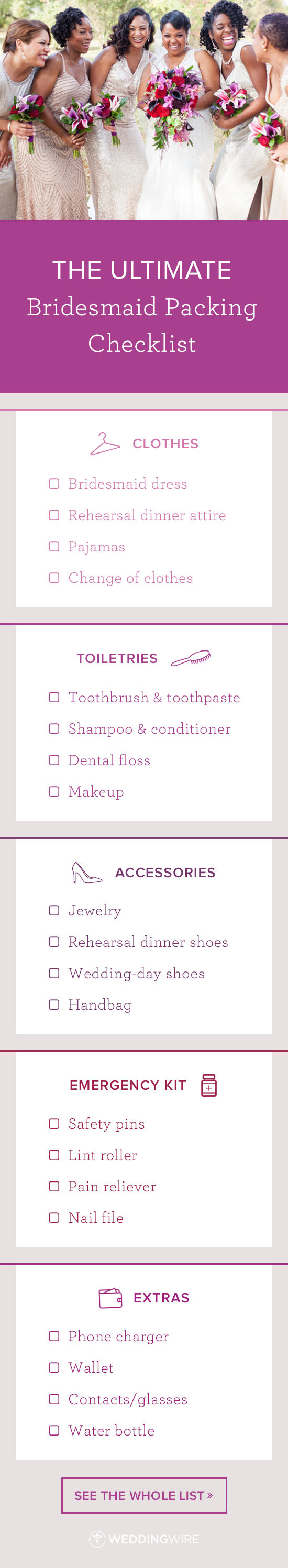 The Ultimate Bridesmaid Packing Checklist Wedding