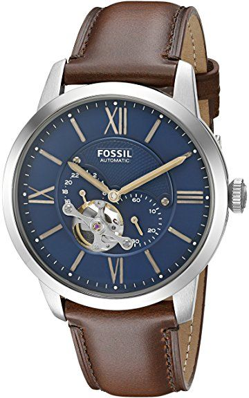 f57c69524007a Fossil Men s ME3110 Townsman Automatic Brown Leather Watch Relógio De Couro  Marrom