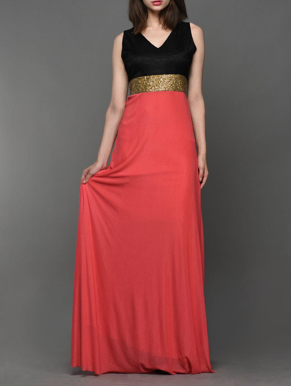 Carrot Pink Sleeveless Maxi Dress - Buy Klick2style Dresses For ...