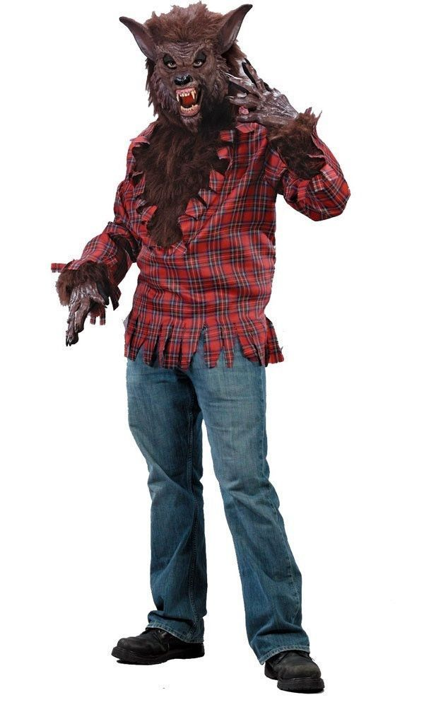 #5409 Scare all your friends this Halloween in our Werewolf costume!!! This costume comes with the Red plaid shirt and Brown, hairy werewolf mask! Also includes the brown hairy gloves!! Includes: - Sh