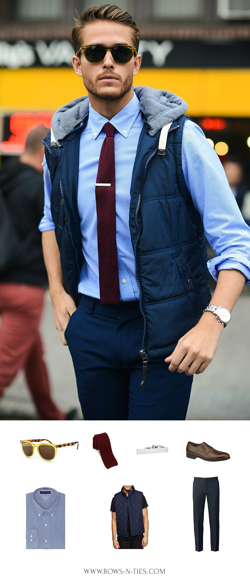 """Adam Galla featuring Spektre glasses, knit tie by Bows-N-Ties, pants by Topman, shoes by Johnston & Murphy, shirt by Tommy Hilfiger, vest by Cotton On. Get this look HERE """""""