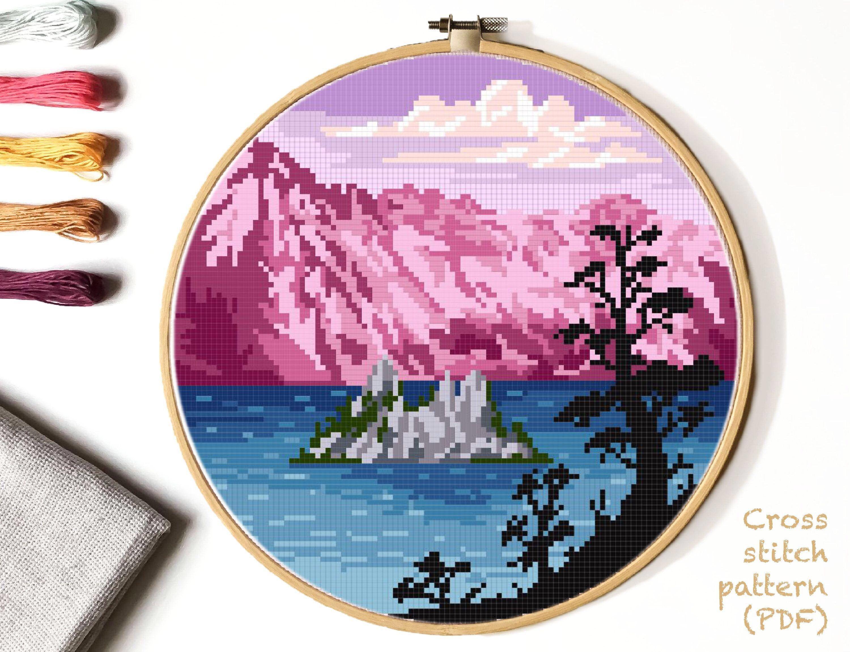 Landscape Modern Cross Stitch Pattern, nature counted cross stitch chart, Crater lake national park, mountains, instant PDF