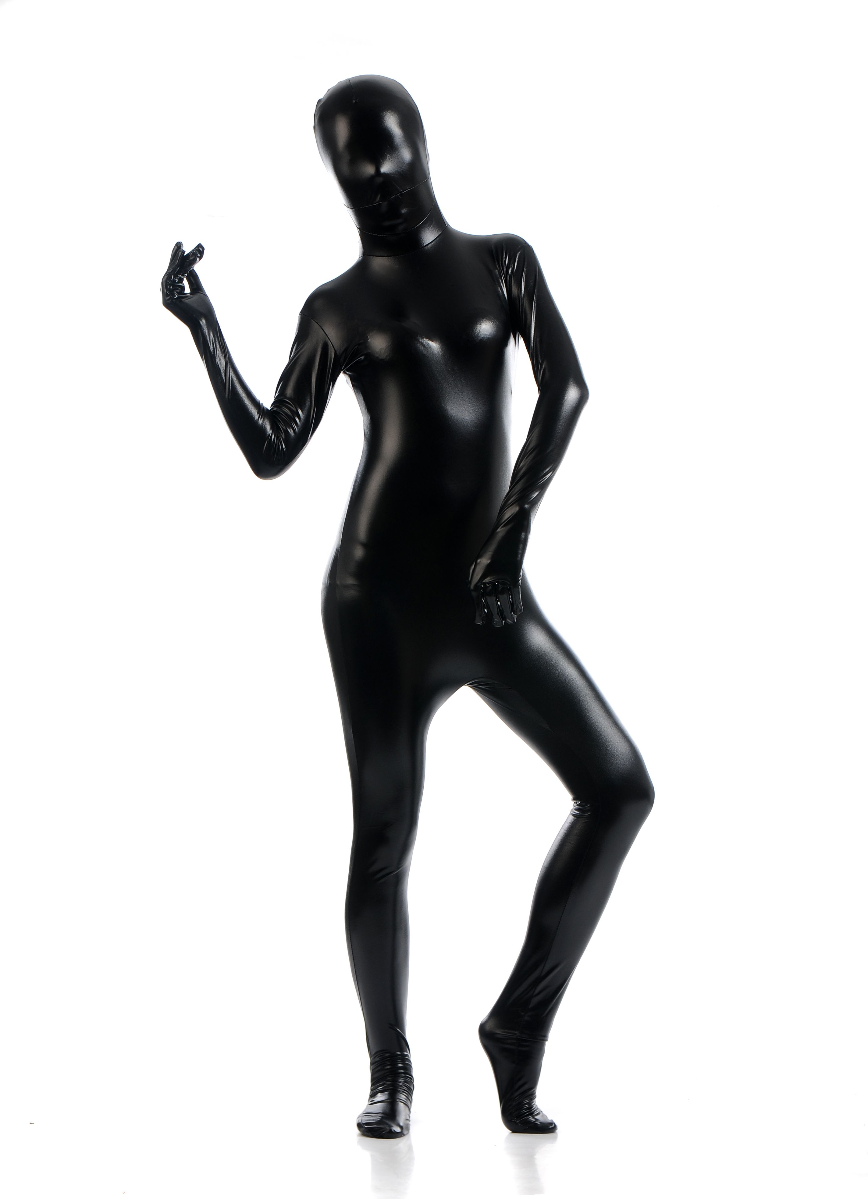 Black Metallic Spandex Bodysuit Lycra Shiny Catsuit Sexy Unisex Zentai Full  Body Suit Costume Party Wet
