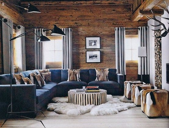 The Look: Ski Lodge in the Alps  Brown living room decor, Modern