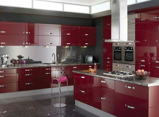 Red And Grey Kitchen Paradise #red Velvet  My Houseone Day New Kitchen Design Red And Black Decorating Inspiration