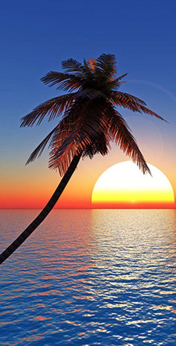 Palm Tree Sunset Themed Light Weight (1x4) Regulation Size Custom Cornhole Board Game Set - Corn Hole - Bag Toss