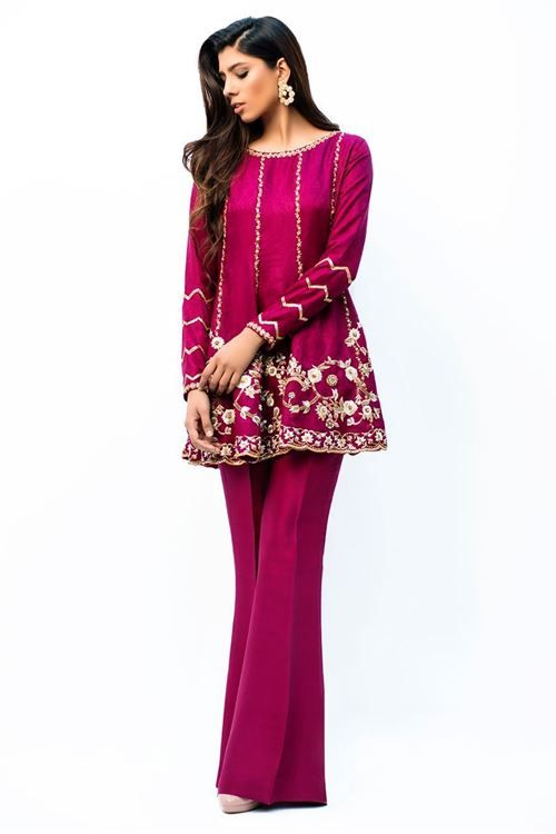 8cc60568ca Stylish Pakistani Party Wear Dresses 2017 For Girls In Peplum Style In Pink  Color