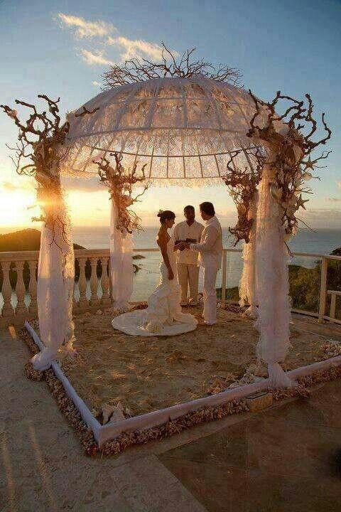 Beach wedding gazebo decor
