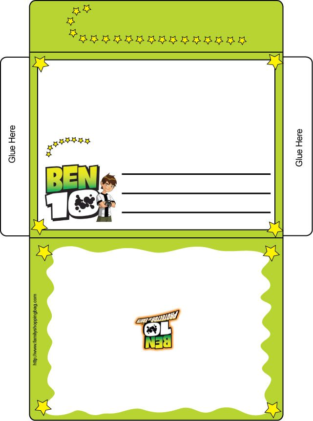 ben 10 free printable envelope and letterinvite in one free printables