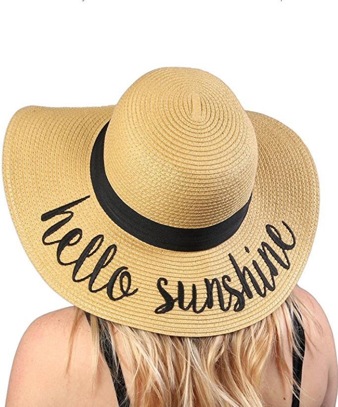 Hello Sunshine Floppy Beach Sun Hat Sunhat With Writing Phrases Cute Sayings Ad