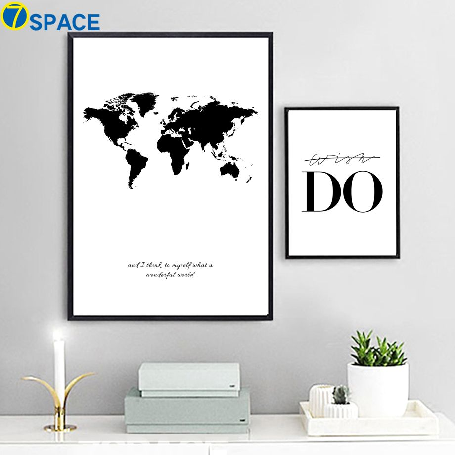 7 space world map canvas nordic wall art canvas painting black and 7 space world map canvas nordic wall art canvas painting black and white print poster decorative pictures living room study room tag a friend who would love gumiabroncs Images