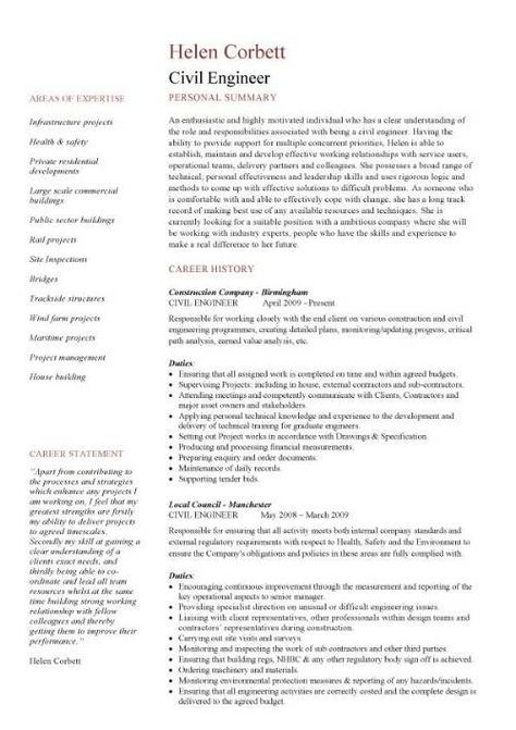 Cv Template Civil Engineer Sample Resume Templates