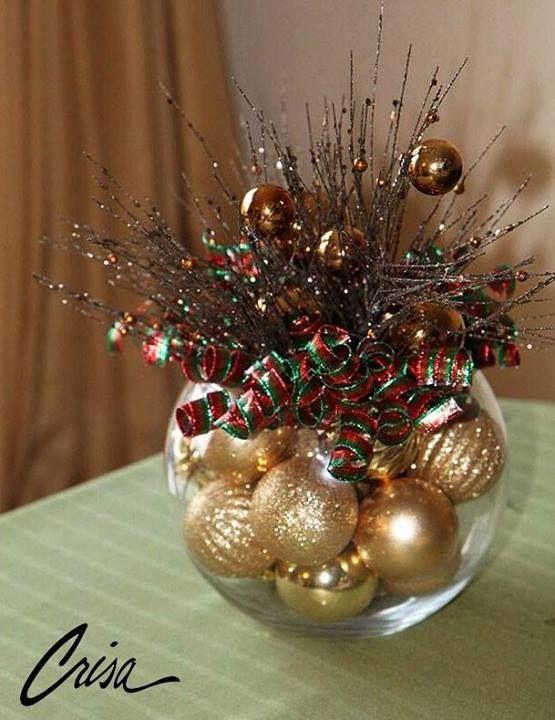 Center pieces decoraci n para navidad pinterest for Arreglos navidenos para mesa