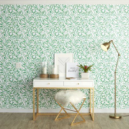 Repeel Watercolor Leaves Peel And Stick Removable Wallpaper Green Tropical Wallpaper Peel And Stick Wallpaper Removable Wallpaper