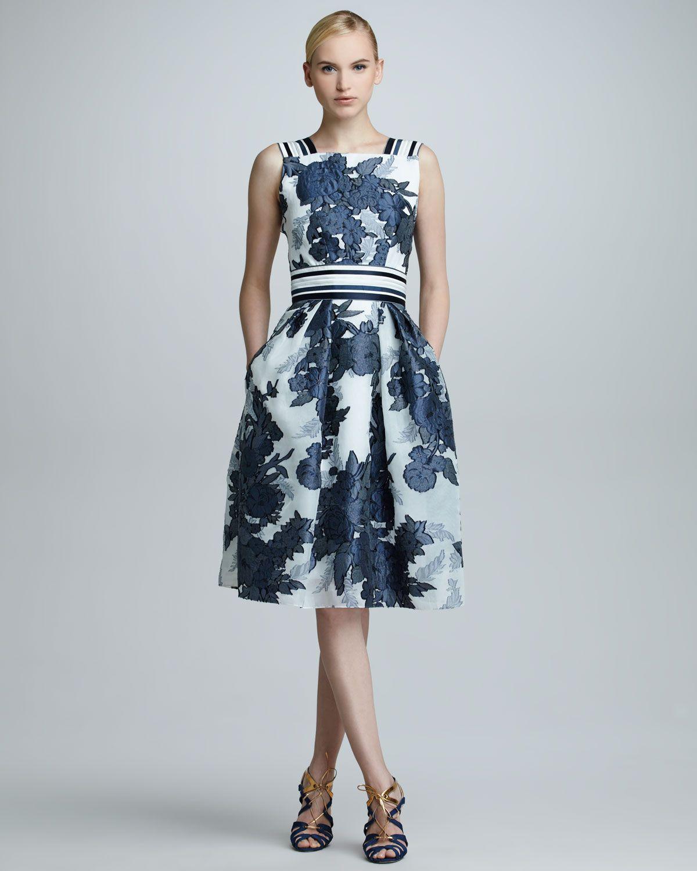Carolina Herrera Floral Jacquard Organza Dress, Blue - Neiman Marcus ...
