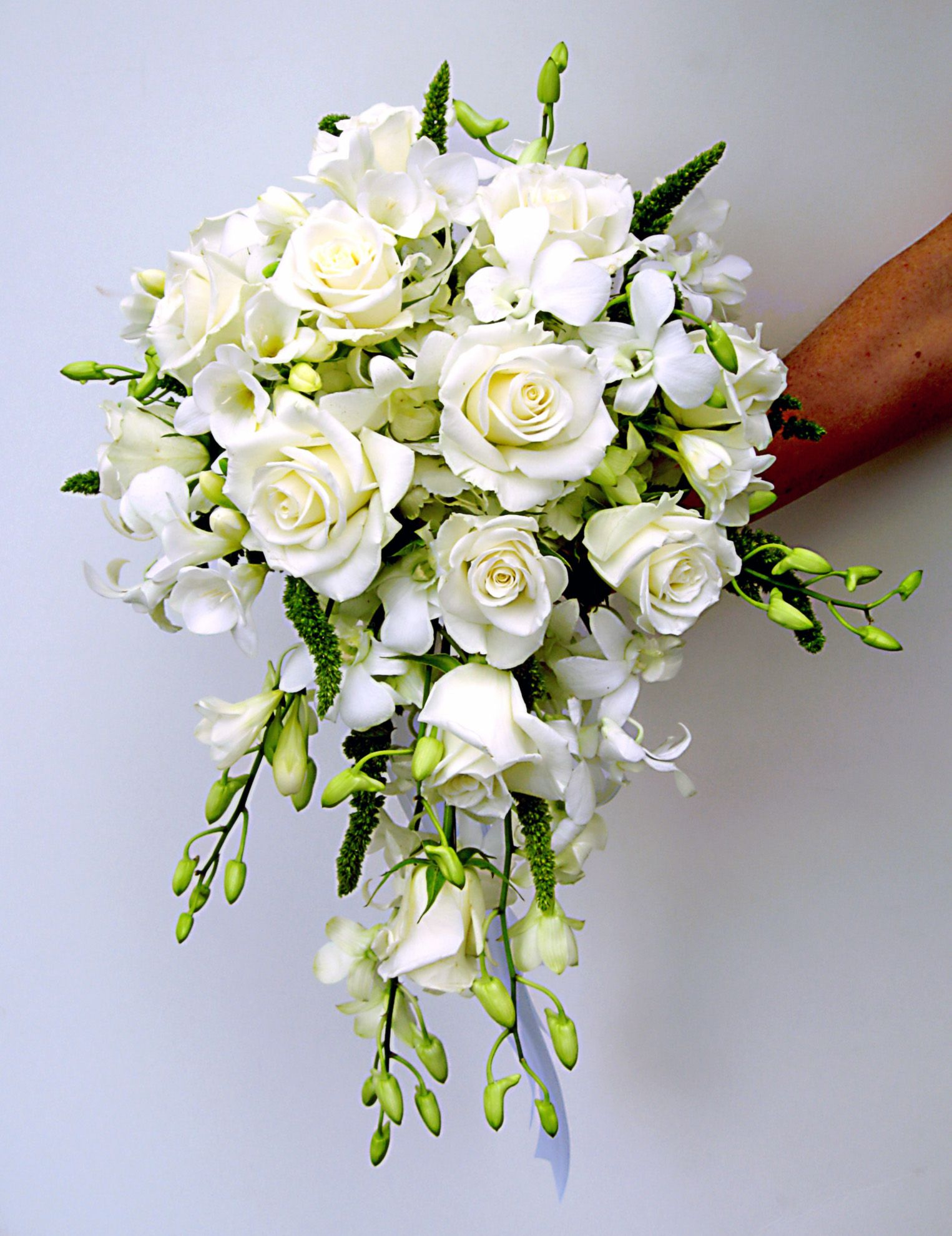 All White Cascade Bouquet With Roses And Dendrobium Orchids Flower Bouquet Wedding Cascading Wedding Bouquets Small Wedding Bouquets