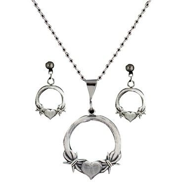 Western Claddagh Barbed Wire and Heart Gunmetal Jewelry