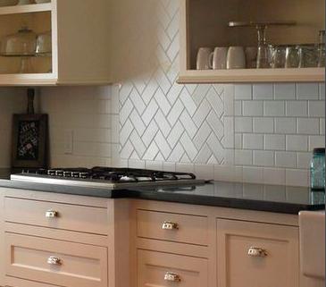 Herringbone Pattern For Backsplash Over Sink Using Boarder Pattern