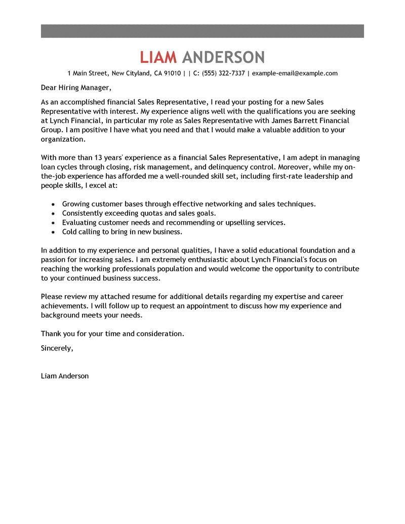 Best Sales Representative Cover Letter Examples Livecareer Create