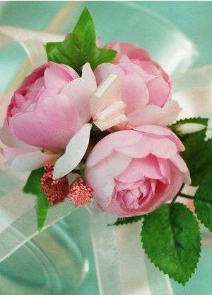 Wonderful Pink Silk Cloth Rose Silk Ribbon Wrist Corsage For Wedding - Wedding Flowers - Accessories