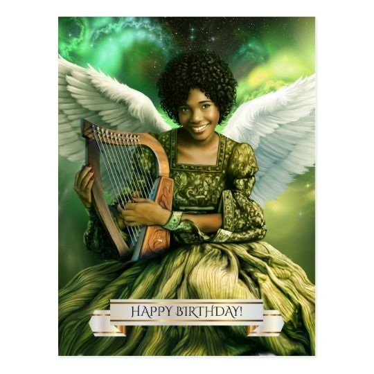 Happy Birthday Angel With Harp Postcards Zazzle Com African American Birthday Cards Happy Birthday Happy Birthday Black