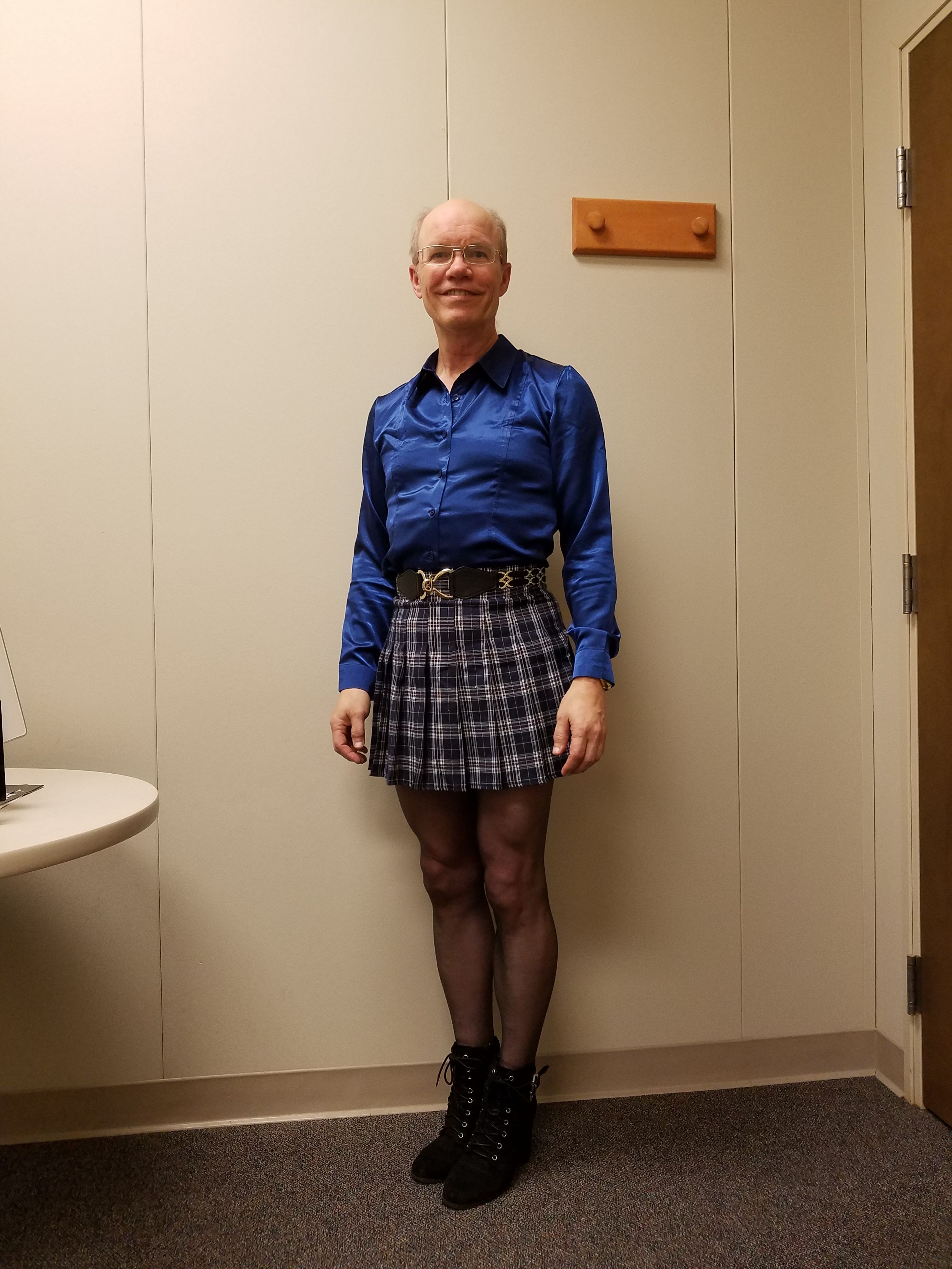 ff6f75b066 Blue plaid pleated mini skirt (AliExpress), blue satin silk shirt  (AliExpress), black Donna Karan nylons, black chunk high heel shoes (DSW).
