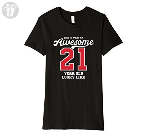 Womens 21st Birthday Gift T-Shirt Awesome 21 Year Old (Fitted) XL Black - Birthday shirts (*Amazon Partner-Link)