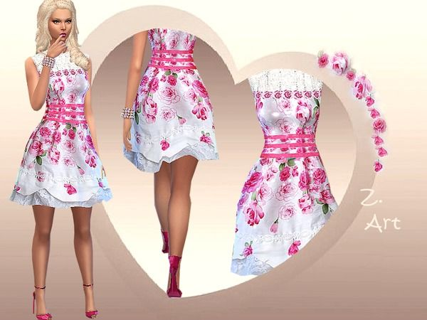 The Sims Resource: Pure Romantic dress by Zuckerschnute20