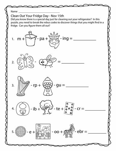 Accomplished image within rebus puzzles with answers printable
