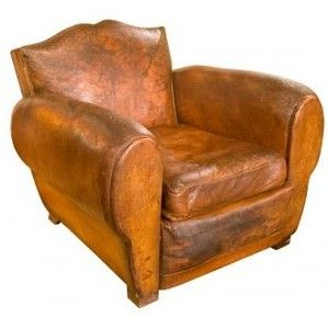 French Leather Club Chair C.1930   Polyvore