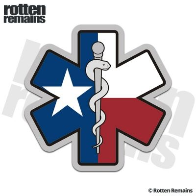 Star Of Life Texas State Flag Decal Tx Texan Paramedic Emt Ems Sticker Flag Decal Texas State Flag Paramedic