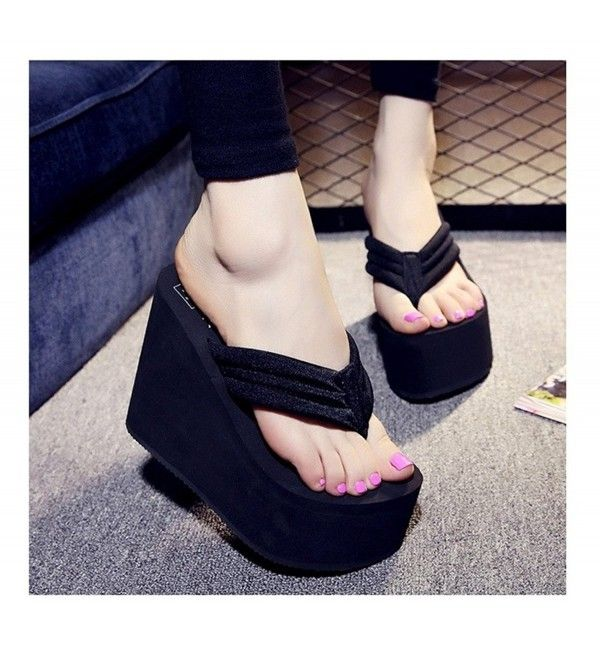 0442efc8484 Women s Cheap Flip Flops Wedge Sandals Platform Thongs - Black-11cm ...