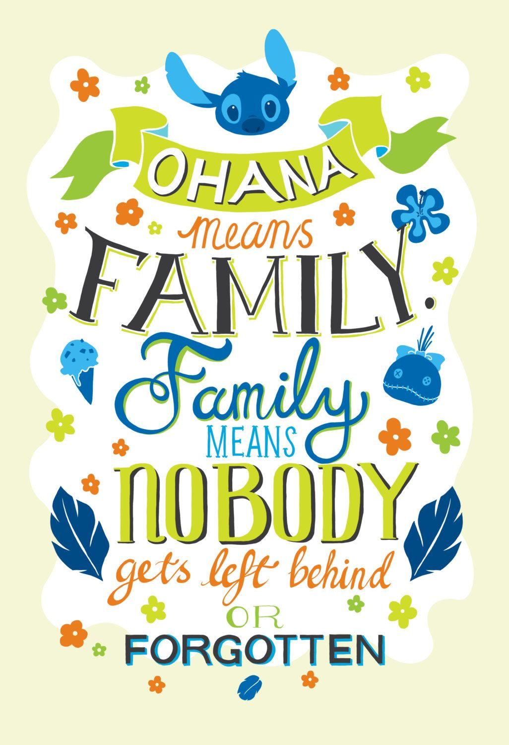 Disney Lilo And Stitch Ohana Means Family Typography Quote Poster ...