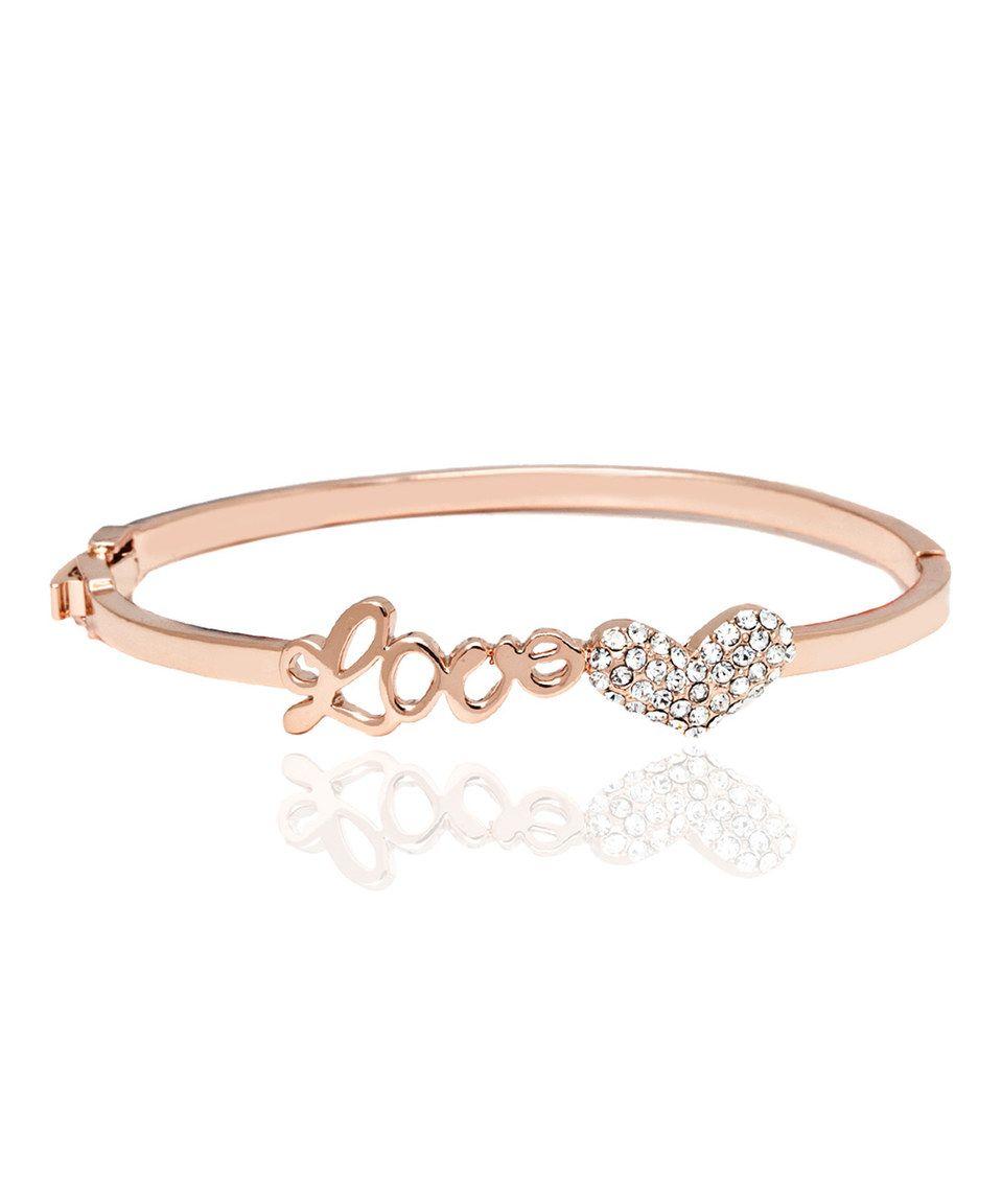 Sevil designs rose gold uloveu hinge bangle with swarovski crystals