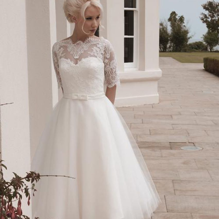 Tea Length Plus Size Wedding Dress With Half Sleeves Free Petticoat
