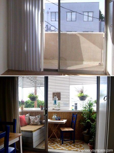 DIY balcony makeover, including DIY outdoor storage bench perfect ...