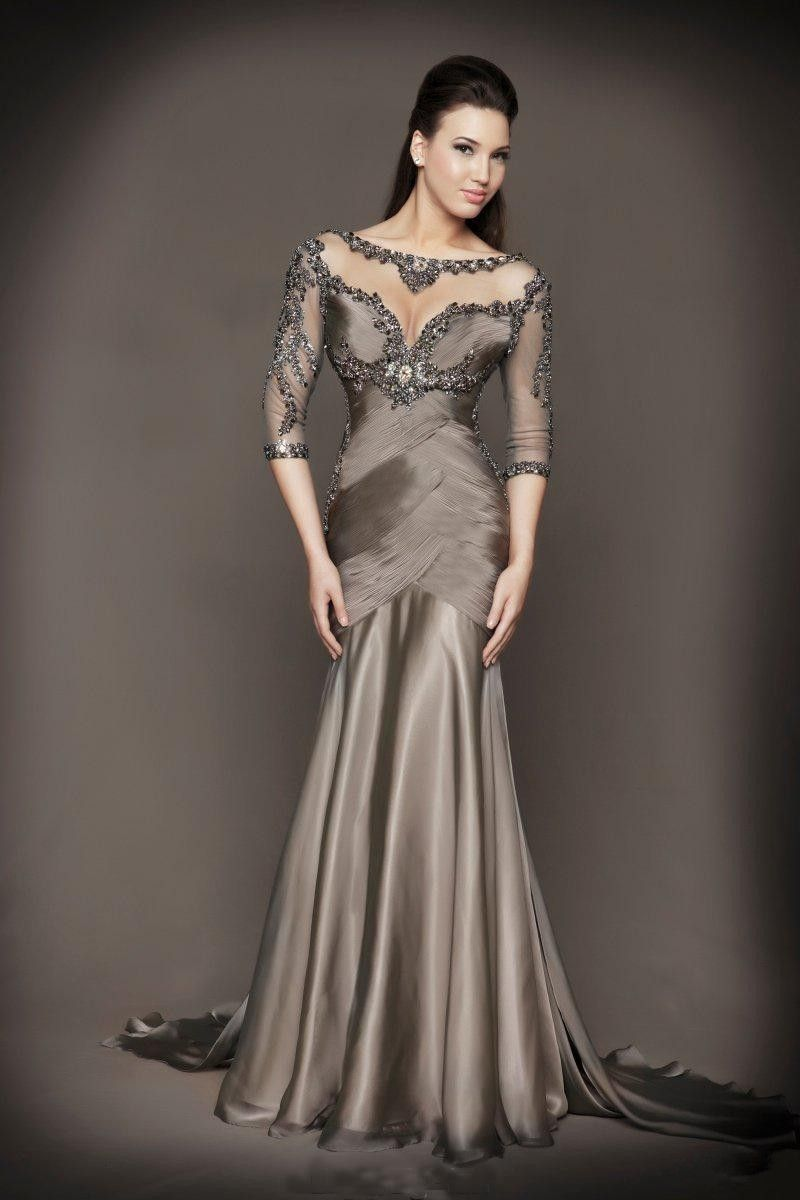 2017 Mother Of The Bride Dresses Mermaid Half Sleeves Gray See Through Beaded Backless Long Brides For Weddings