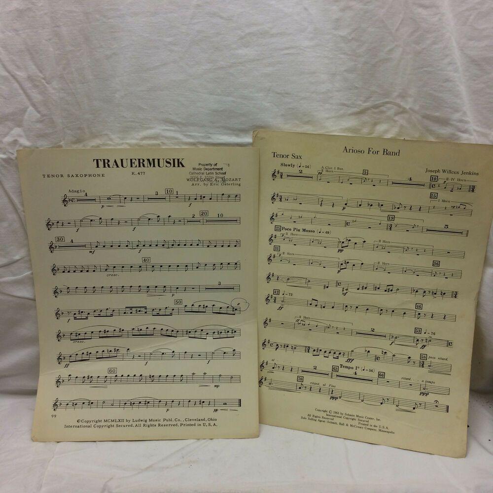 2 vtg 1962 sheet music tenor saxophone arioso for band