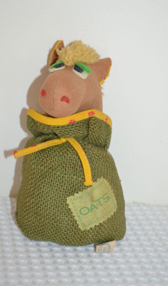 "8"" Vintage Knickerbocker Bean Bag Horse Pony In Oats Bag Plush Stuffed Animal"