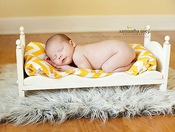 Small newborn photography prop baby doll posing bed whimsical diy ready to stain or distress photo props