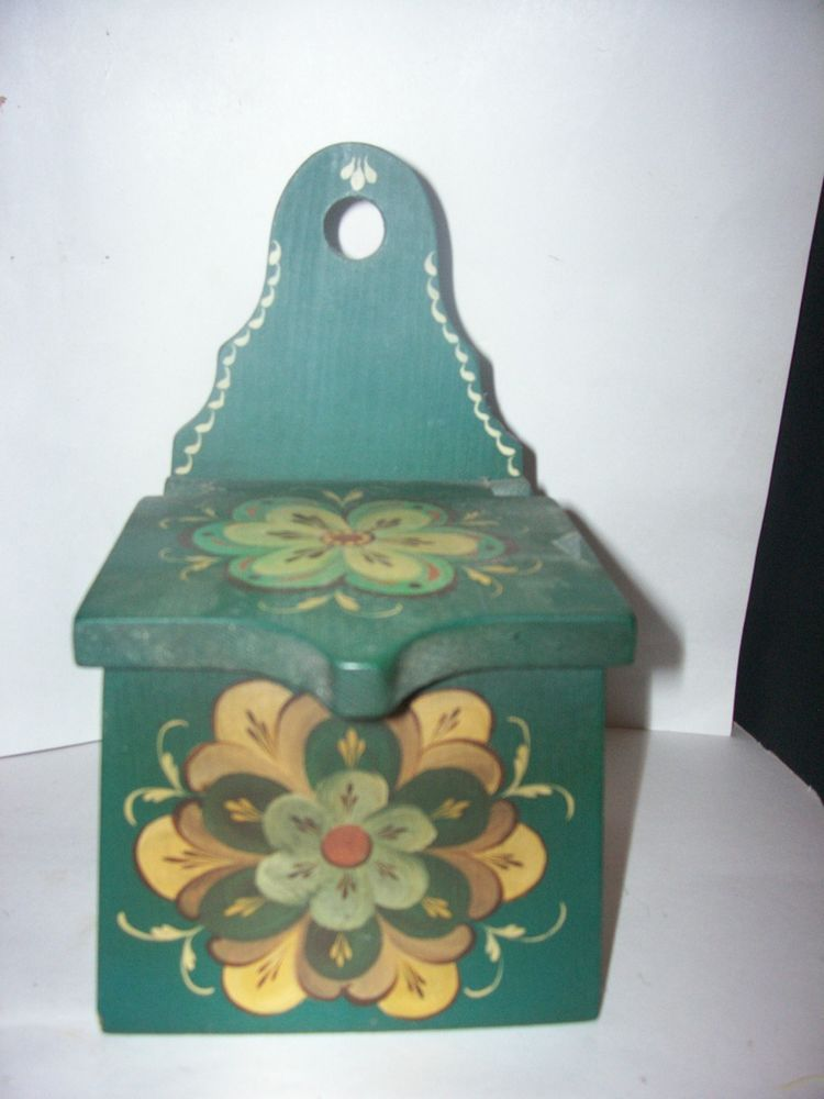 Vtg Norwegian Rosemal Folk Art Desk Box 1970 Hinged Lid Hand Made Antiques