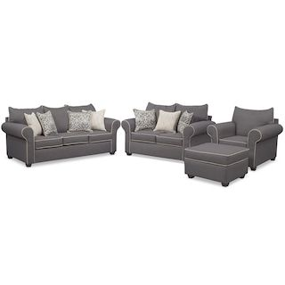 The Carla Collection Gray Sofa And Loveseat Set Love