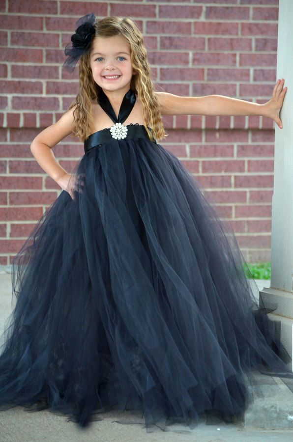 Elegant Black Flower Girl Tutu Dress - Holiday Dress ...