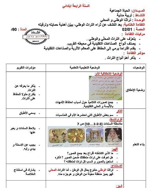 مذكرة التربية المدنية تراثنا الوطني و المحلي الحصة 1 2 للسنة 4 ابتدائي الجيل الثاني Education Primary Heritage