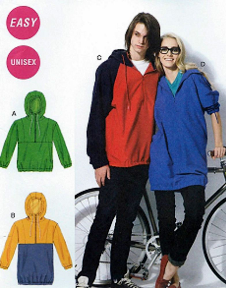 NEW! Plus Size 46-56 Unisex Pullover Lined Jackets Sewing Pattern ...