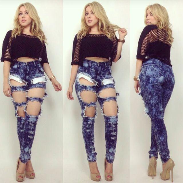 High Waist Dark Blue Acid Wash Medium Cut Outs Jean Pants ...
