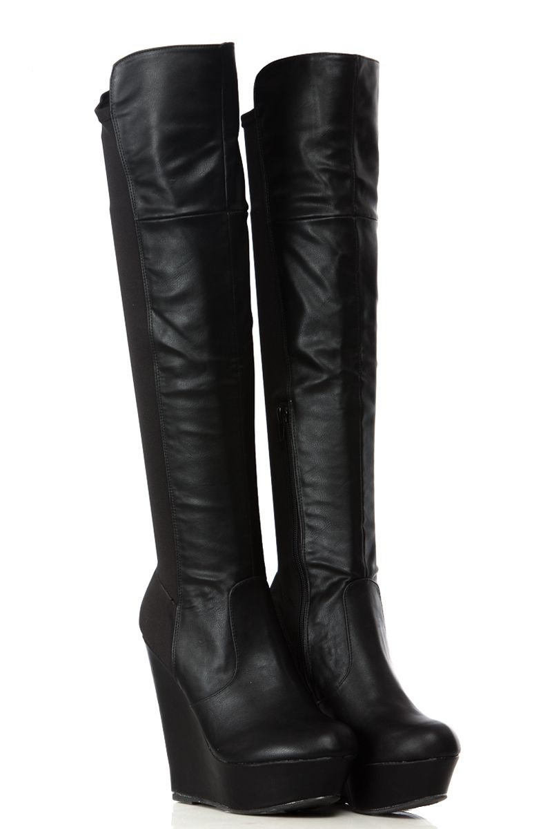 Black Two Tone Faux Leather Over-Knee Platform Wedge Boots ...