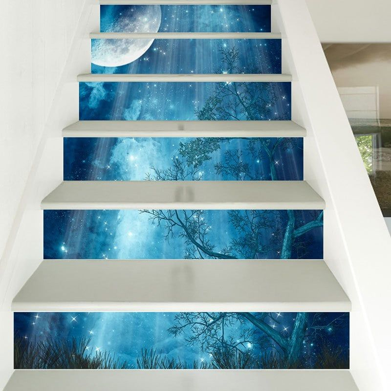 Starry moon night forest print 3d stair stickers